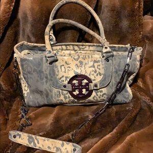 Tan and Gray Leopard Print handbag